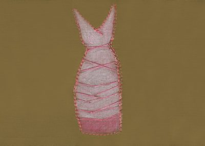 """Bound - Prismacolor and thread drawing 4""""x 6"""""""