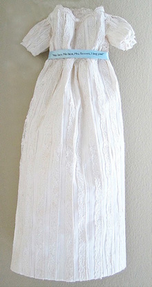 """For Jane at 200 - Paper textile construction 6""""x 16""""x 1/2"""". Text reads:  """"No lace. No lace, Mrs. Bennett. I beg you!"""""""