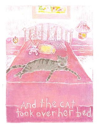"Cat - Monoprint with mixed-media and collage. Digitally printed 6""x 8"" - open edition. From the artist's book: ""It's HER House Now"", edition of 25"